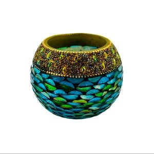 Pier 1 Beaded Rim Mosaic Glass Candle Holder